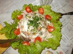 Салат со свиным окороком