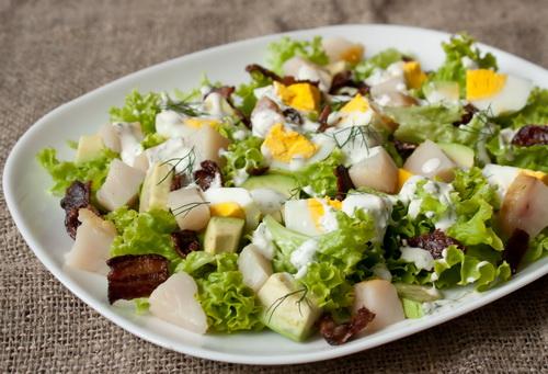 Салат с грибами и телятиной