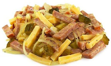Салат с копченой колбасой и солеными огурцами рецепт